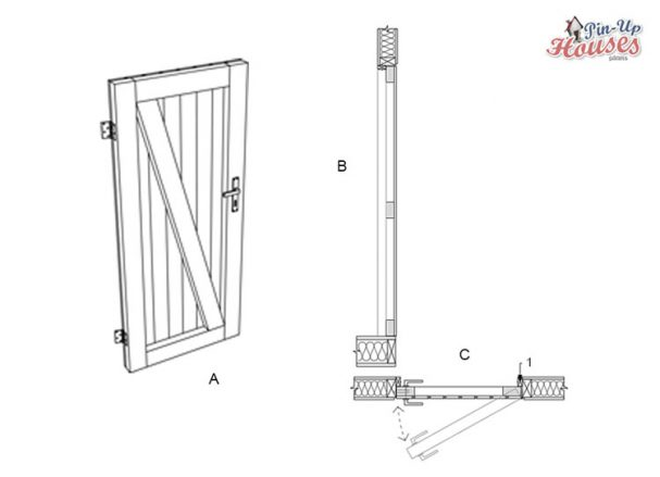 easy to build wooden doors for DIY sheds and micro house plans