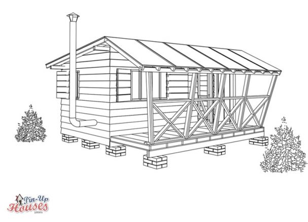 easy to build small wooden cabin, exterior board cladding