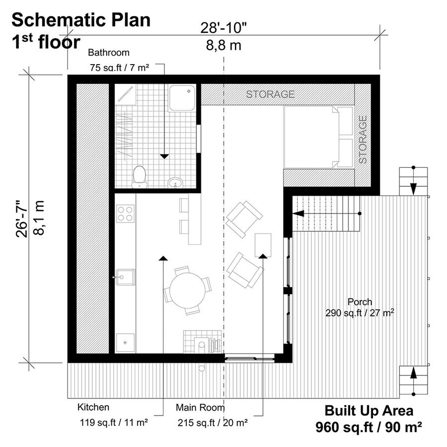 Two Story Flat Roof House Plans