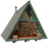 DIY tiny house with front porch and gable roof