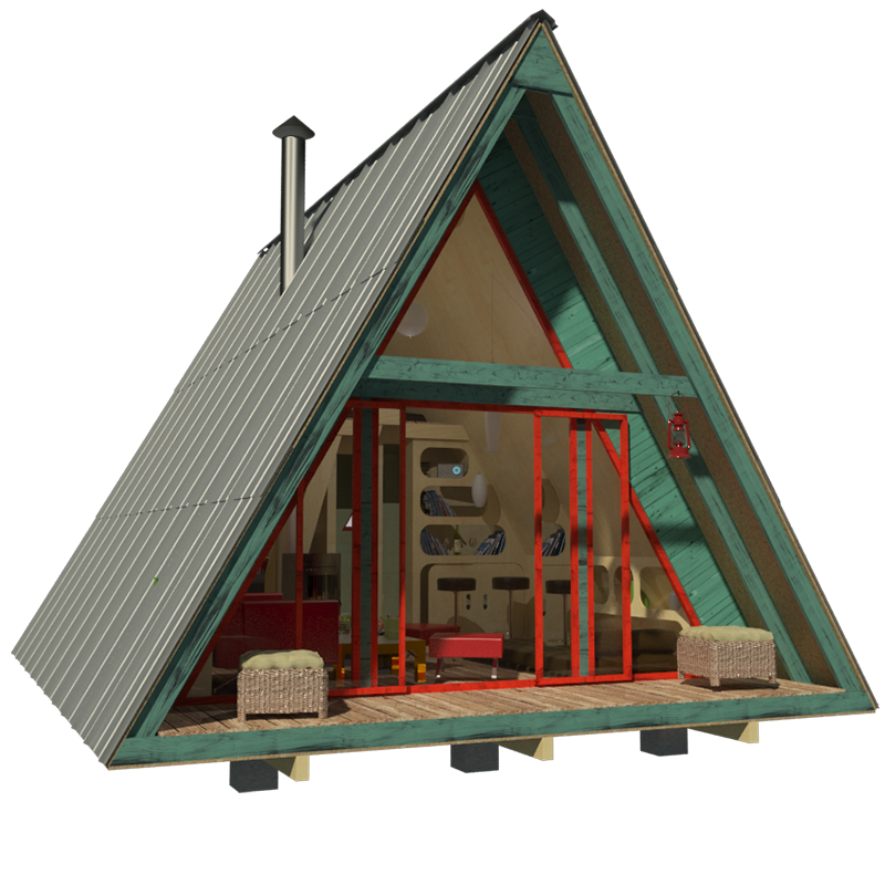 diy tiny house with front porch and gable roof - A Frame House Plans