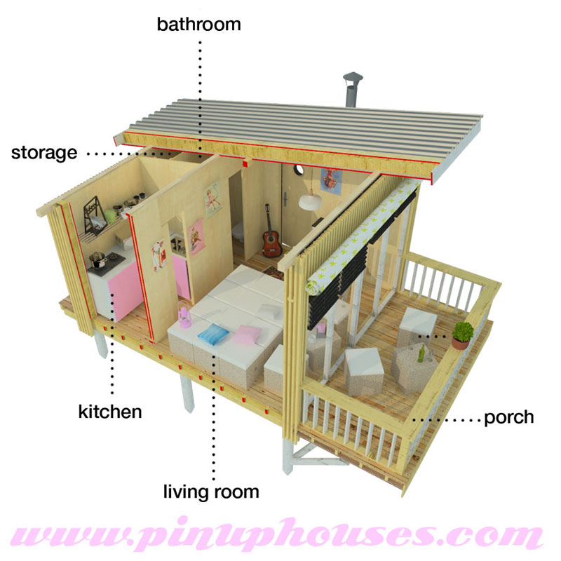 Home / Plans / Cabin plans / Louise Small House Plans with Shed Roof
