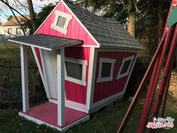 DIY timber crooked playhouse for children