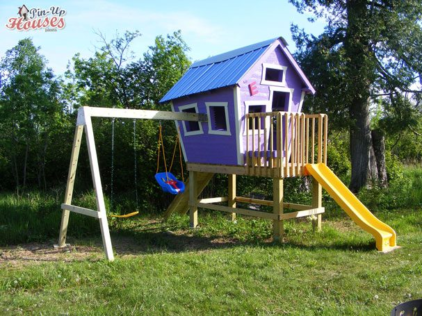 playing complex with house, slide and swings