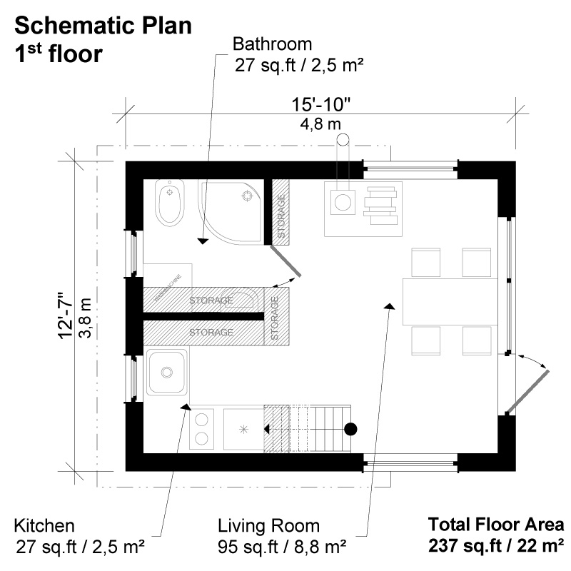 Contemporary cabin plans for Modern cabin floor plans
