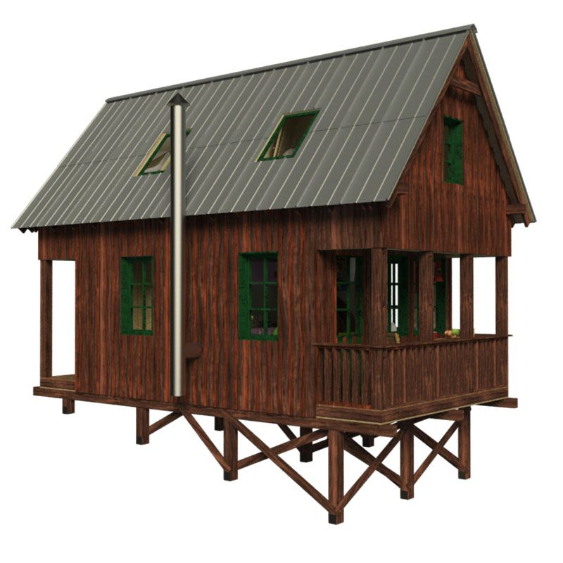Small cabin plans with gable roof and loft joy studio for How to build a small cabin with a loft
