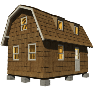 Gambrel roof small house plans for Small gambrel house plans