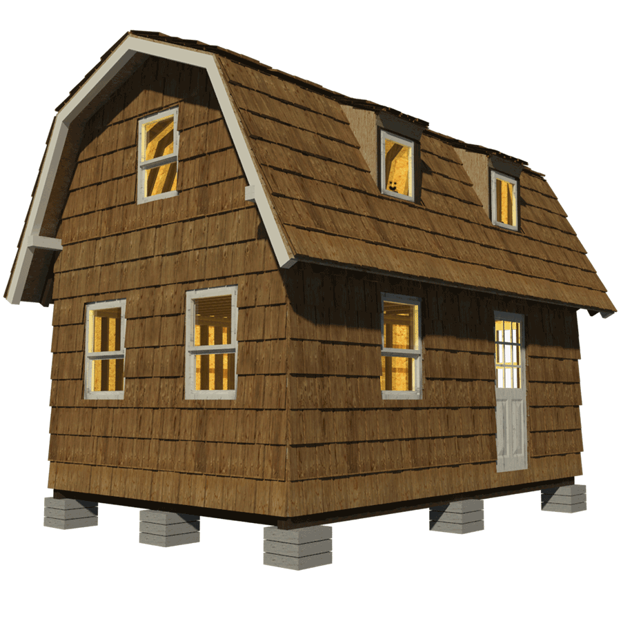 Small gambrel roof house plans for Micro home designs
