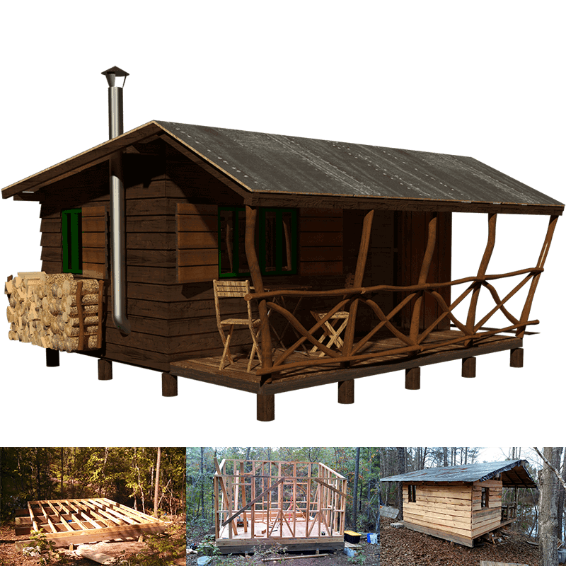 Simple small cabin plans for Hunting camp house plans
