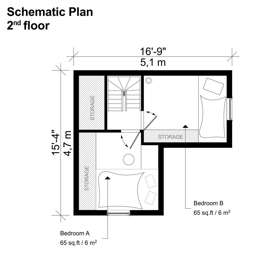 loft two bedroom house floor plan - 19+ Small Two Bedroom House Designs Pictures