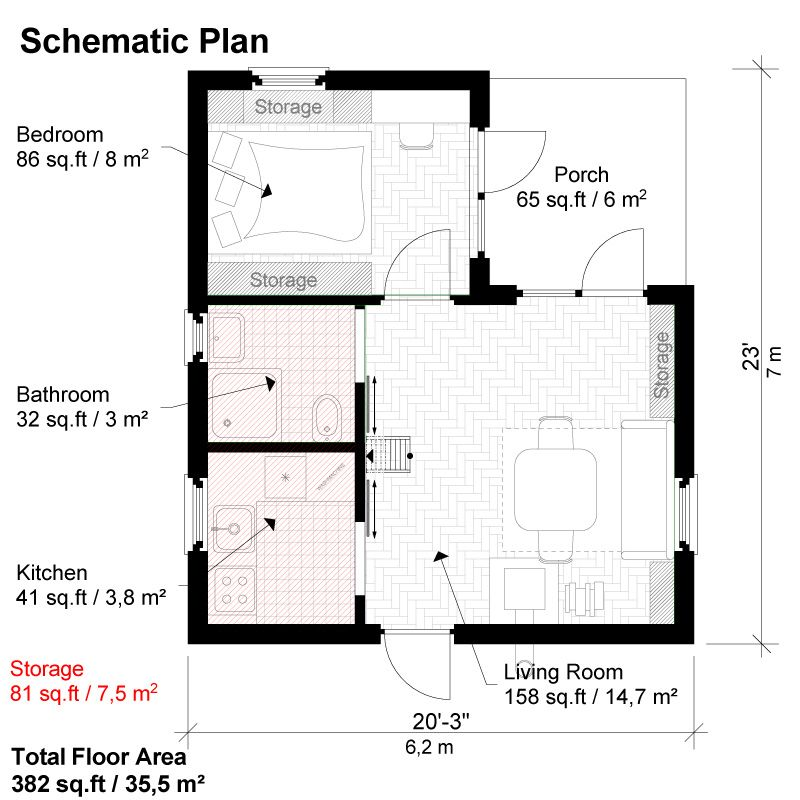One bedroom house plans peggy for Simple one room house plans