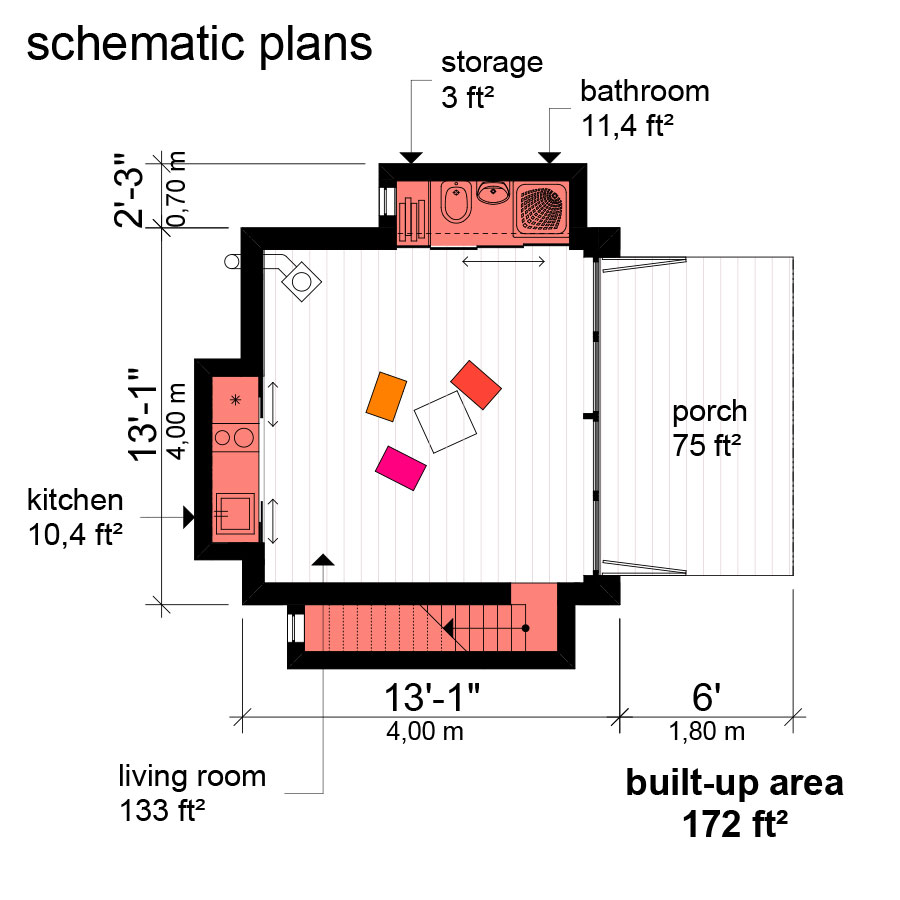 Small Flat Roof House Plans