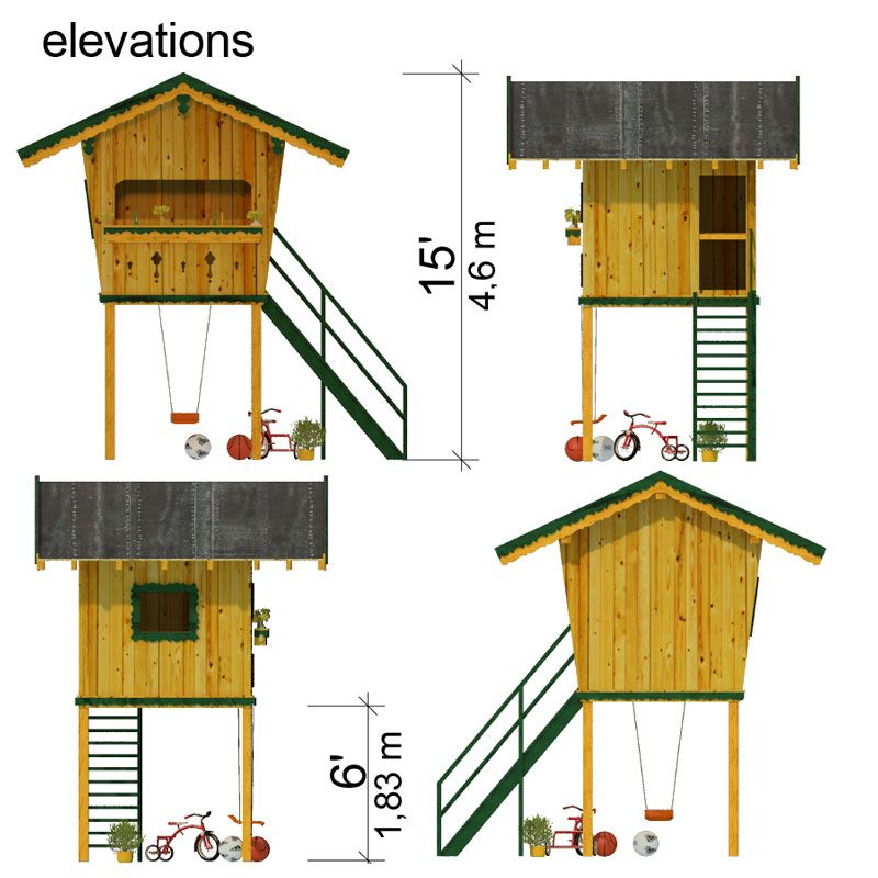 Lookout playhouse plans for Blueprints for playhouse