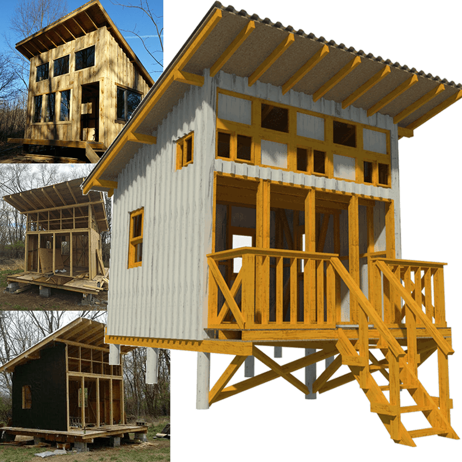 Small Cabin Plan Build Yourself Small Cabin Building Plans: Elevated Cabin Plans