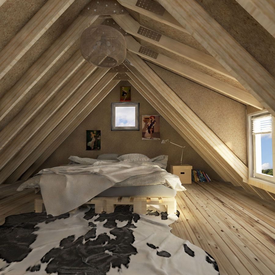 small cabin loft bedroom DIY building plans - 41+ Small House Design With Attic Room Background