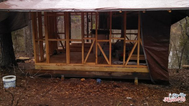 wall frames of small cabin under construction
