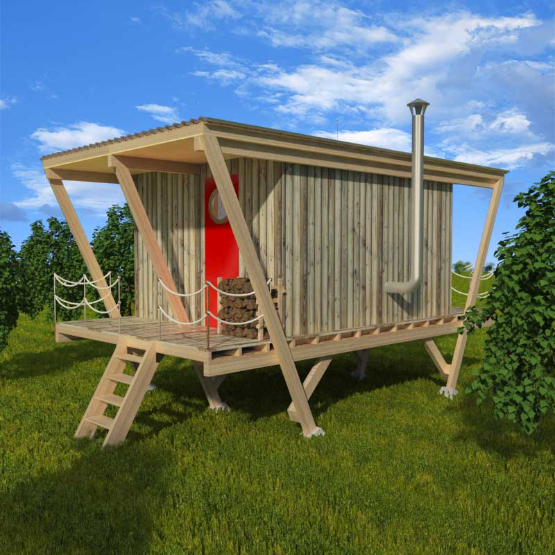 Elevated tiny house plans for Small easy to build cabin plans