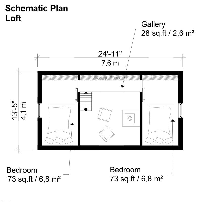 Two bedroom modern house plans for Two bedroom loft floor plans