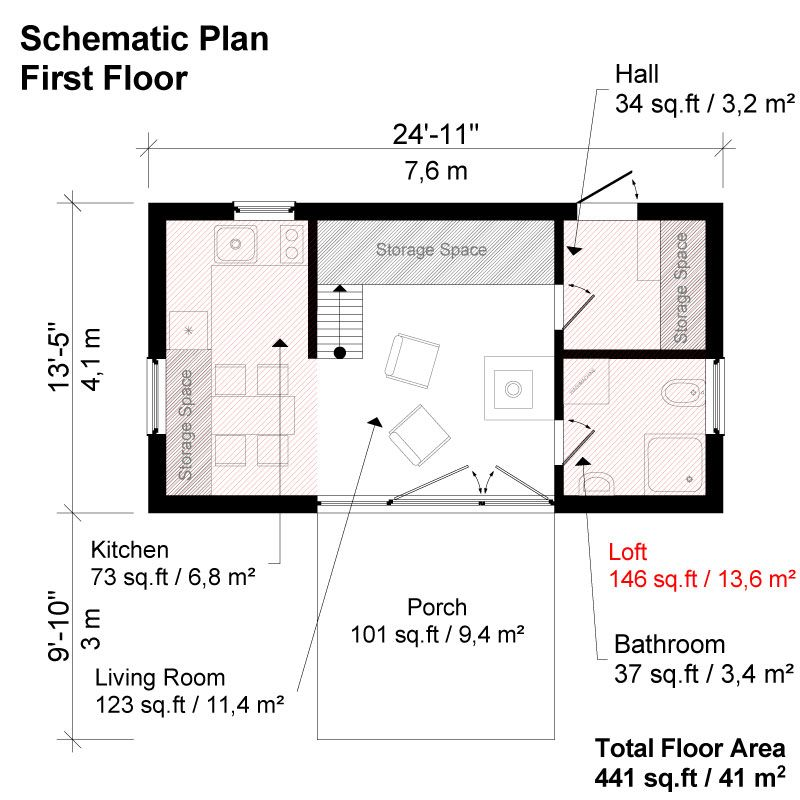 Two bedroom modern house plans for Small modern house floor plans