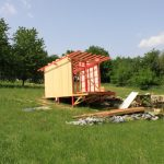 timber frame cabin construction wall cladding