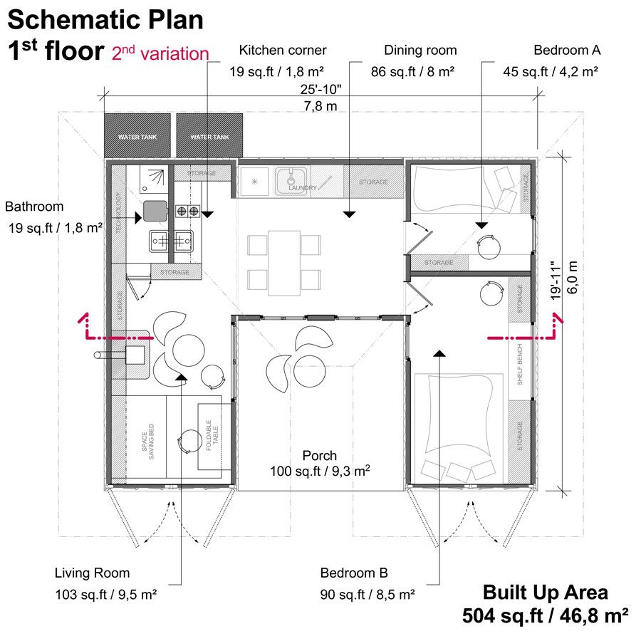 Two 20ft shipping container house floor plans with 2 bedrooms - Shipping container house plans ...